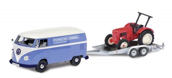 VW T1 Kastenwagen mit Anhänger und Porsche Junior Modell von Schuco 1:87