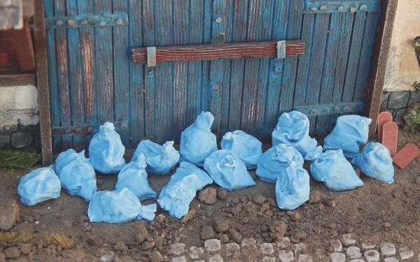 Müllsäcke blau 20 Stück lose Modell von Juweela 1:35